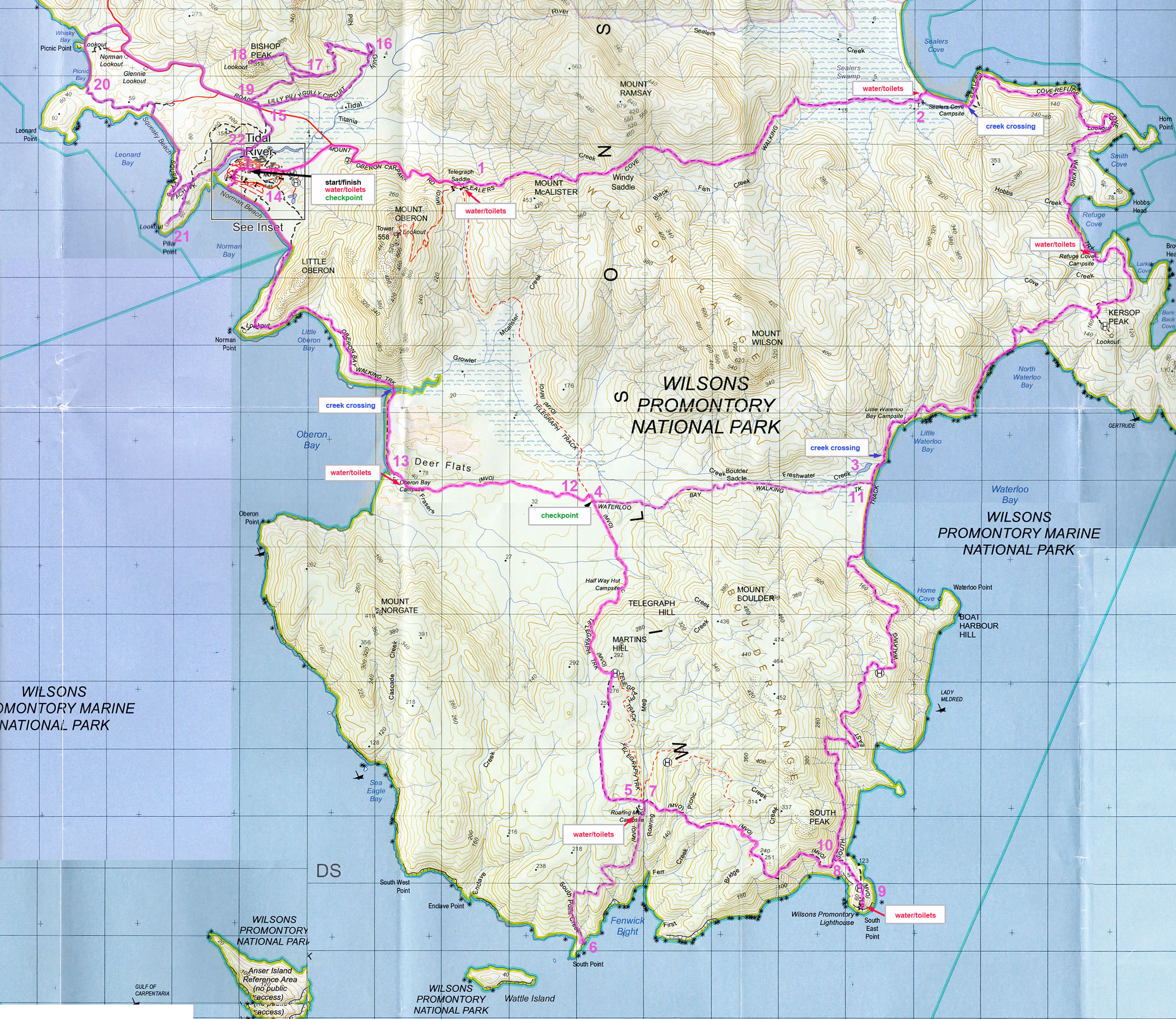 Wilsons Promontory Map Maps Wilsons Promontory Map